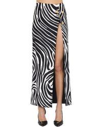 Versace Falda Midi De Jersey Stretch Con Alfileres - Negro