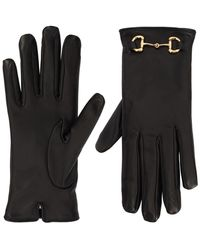 Gucci Handschuhe Aus Leder Mit Horsebit-detail - Schwarz
