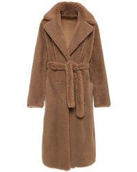 Ralph Lauren Collection Manteau En Shearling Avec Ceinture - Marron