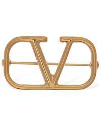 Valentino Garavani Valentino garavani brosche mit v-logo - Mettallic