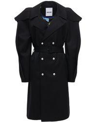 Koche Double Breast Wool Blend Trench Coat - Black
