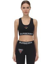 Burberry Спортивный Бюстгальтер С Аппликациями - Черный
