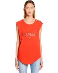 Balmain - Logo Cotton Jersey Sleeveless T-shirt - Lyst
