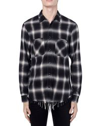 Amiri Camicia In Viscosa E Cotone Check - Nero