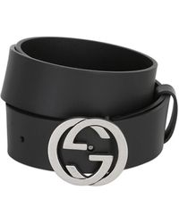 Gucci 37mm Interlocking G Buckle Leather Belt - Black