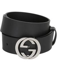 Gucci 37mm Breiter Ledergürtel Mit Logoschnalle - Schwarz