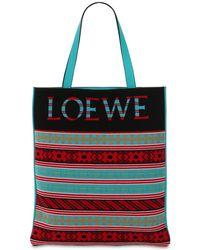 Loewe - Borsa Shopping Con Disegno A Intarsio - Lyst