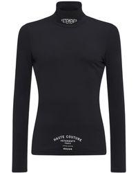 Vetements T-shirt En Tissu Technique Col Roulé - Noir