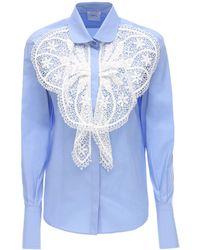 Patou Poplin Shirt W/ Lace Detail - Blue