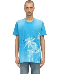 DOMREBEL Palm Skull Cotton Jersey T-shirt - Blue