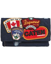 DSquared² - Denim Fold Over Clutch W/ Patches - Lyst