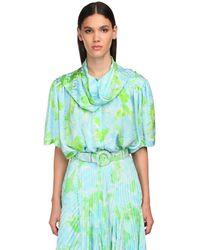 Balenciaga サテンジャカードシャツ - グリーン