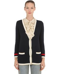 Gucci Embroidered Oversize Knitted Cardigan - Blue