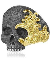 """David Yurman Ring Aus Silber Und Gold """"waves Skull"""" - Mettallic"""