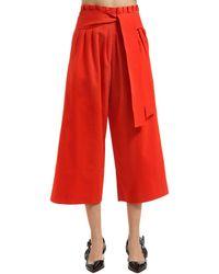 Rejina Pyo Pantalones Anchos De Algodón Con Cinturón - Rojo