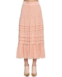 Temperley London Gold Embroidered Silk Chiffon Midi Skirt - Pink