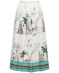 Le Sirenuse New Jane Printed Cotton Midi Skirt - White