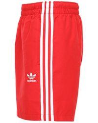 adidas Originals Badeshorts Mit 3 Streifen - Rot