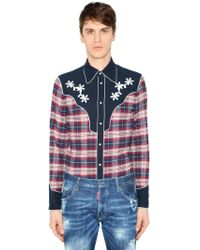 DSquared² - Brushed Cotton Flannel Western Shirt - Lyst
