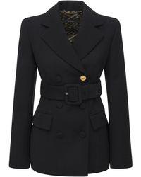 Versace ベルテッドウールジャケット - ブラック