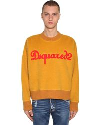 DSquared² Pullover Aus Wollmischung Mit Patches - Gelb