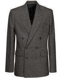 Balenciaga Zweireihige Jacke Im Hahnentritt - Grau