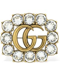 Gucci Gg Marmont Crystal Brooch - Metallic