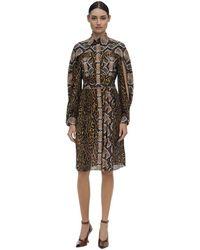 Burberry Шелковое Платье С Принтом - Многоцветный