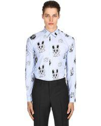 2e652fbfd66 McQ - Bunny Sticker Print Cotton Poplin Shirt - Lyst