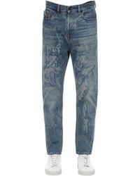 """DIESEL Bedruckte Jeans Aus Baumwolldenim """"d-vider-sp4"""" - Blau"""