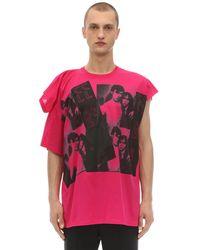 Raf Simons T-shirt Aus Baumwolljersey Mit Druck - Pink