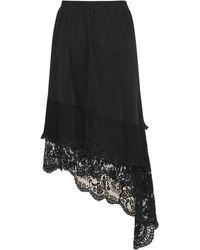 Vetements Falda Asimétrica Con Encaje - Negro