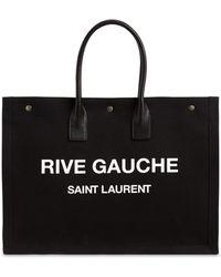 Saint Laurent Сумка Из Канваса С Принтом Rive Gauche - Черный