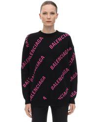 Balenciaga Suéter Oversize De Algodón Con Logo Jacquard - Negro