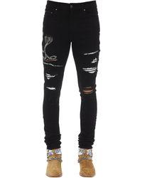 Amiri Jeans De Denim De Algodón Con Parches 15Cm - Negro