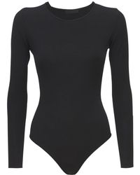 WARDROBE.NYC Viscose Blend Knit Bodysuit - Black