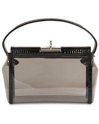 GU_DE Water Pvc & Croc Embossed Leather Bag - Black