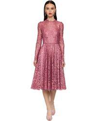 Dolce & Gabbana シャンティリーレースラメミディドレス - ピンク