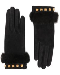 Mario Portolano - Suede Gloves With Mink Fur & Studs - Lyst