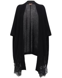 Ermanno Scervino Cashmere & Lace Knit Cardigan - Black