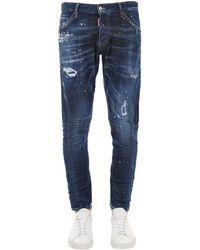 DSquared² 17.5cm Sexy Twist Cotton Denim Jeans - Blue