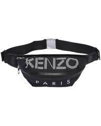 KENZO Logo Printed Nylon Belt Bag - Black