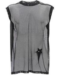 Rick Owens Champion Sleeveless Sheer Mesh T-shirt - Schwarz