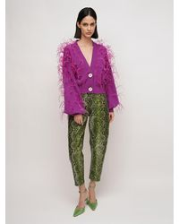 The Attico Python Print Slouchy Leather Trousers - Purple