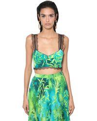 Versace Jungle Print Twill & Lace Bra Top - Green