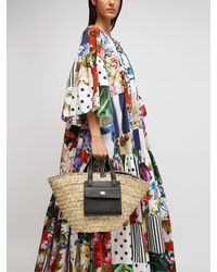 Dolce & Gabbana Kendra Straw & Leather Tote Bag - Multicolour