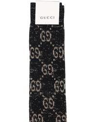 Gucci Lange Socken Aus Baumwollmischjacquard - Schwarz