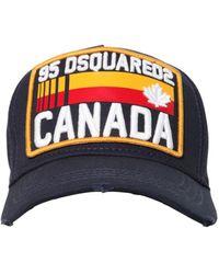 DSquared² Cappello Baseball In Gabardina Di Cotone - Blu