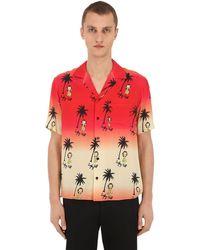 Garçons Infideles Palm Print Viscose Poplin Shirt - Red