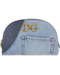 Dolce & Gabbana Dg Girls Patchwork デニムメイクポーチ - ブルー